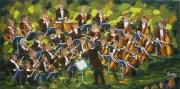 2011-10 Le concert (15x30),  Huile à la spatule, $500