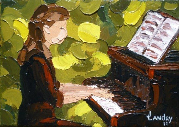 2011-04 Chaleureusement (5X7) Huile sur toile, Vendu