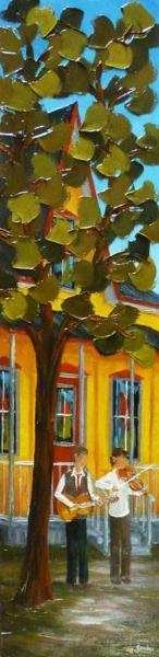 2013-10-47 Douce campagne (48x12), Huile à la spatule, Vendu