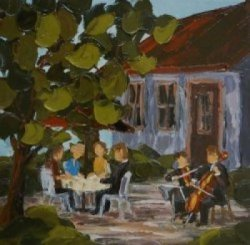2012-09 Souper au jardin, (7x7), Huile à la spatule, Vendu