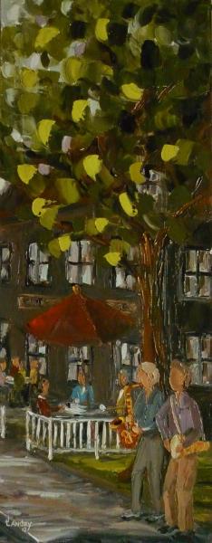 2012-06, Rencontre animée (30x12), huile à la spatule, Vendu