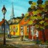 2014-04-06 Au coeur du village (5x5), Huile à la spatule, Vendu