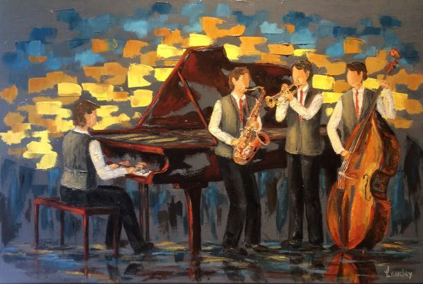20191113 Jazzmen (16X24), Huile à la spatule, 575$