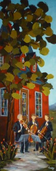 2013-03-08 Les cordes du printemps (60x20), Huile à la spatule, Vendu
