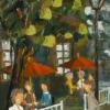 2012-07 À l\'écoute, (30x12), huile à la spatule, Vendu