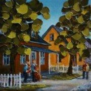 2012-11, Le gîte du Village, (7x7) Huile à la spatule, Vendu
